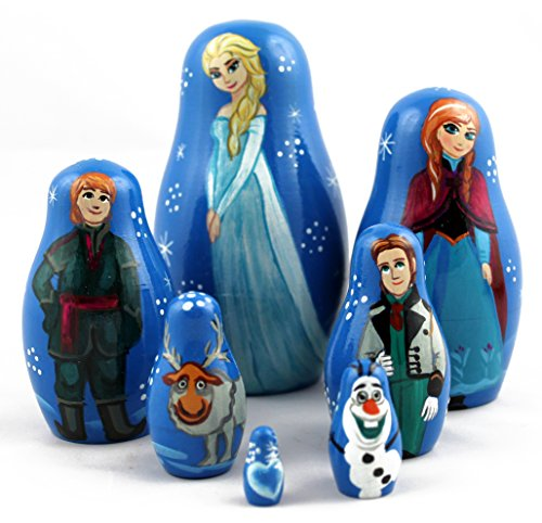 Frozen Elsa and Anna Matryoshka Russian Handmade Wooden Nesting Stacking Dolls