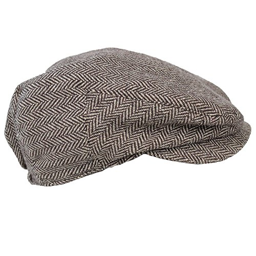 JuDanzy baby & toddler Plaid Cabbie hats (0-3 Months, Brown Tweed)