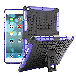 Heartly Flip Kick Stand Hard Dual Armor Hybrid Bumper Back Case Cover For Apple iPad Tablet 2 3 4 - Purple