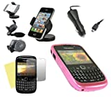 iTALKonline CAR DRIVE Pack DIAMANTE HEXAGONAL patrón sólido ROSA Soft Progel caso Hydro / portada / piel, pantalla LCD / Scratch Protector, 12/24V Cargador de coche, en coche de succión del parabrisas titular para BlackBerry 8520 Curve, 9300 3G