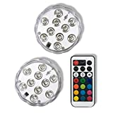 Qicai H LED Submersible Lights Battery Operated RGB Multicolor with Remote Flickering Waterproof Mini Light for Aquarium, Centerpiece, Vase, Halloween, Christmas, Wedding Lighting, Party, Set of 2