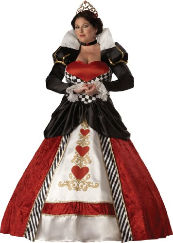 InCharacter Costumes, LLC Women's Queen Of Hearts Costume with Hoop and Tulle Petticoat, Red/White/Black, XXX-Large