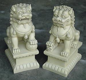 Asian Foo Dogs (Fu Dogs) Garden Statues, Pair, Stone Finish