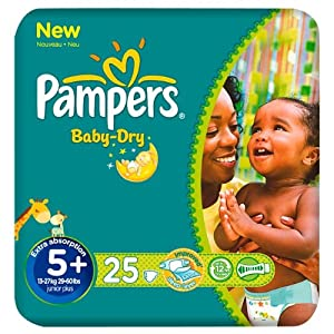 Pampers Baby Dry Size 5+ (13-27kg) Carry Pack 6 pack x 25 per pack