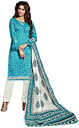 AVC-Colourful Women's Chanderi Unstitched Salwar Suit (1008, Blue)