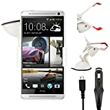 IWIO HTC One Mini Phone Universal 360 Degrees Rotating Suction Mount Car Holder with 12/24v 1000mAh In Car Charger