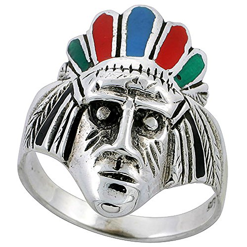 .925 Sterling Silver Native American Chief Enamel Ring Size - 7.5
