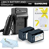 2pk Samsung HMX-F90, HMX-F90, HMX-F90BN, HMX-F90WN/XAA Camcorder Battery Lithium Ion (1200 mAh 3.7v) - Replacement For Samsung IA-BP105R Battery + Ac/Dc Rapid Travel Charger + LCD Screen Protectors