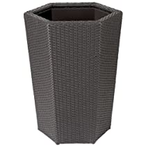 24 Inch Vista Resin Wicker Hex Planter