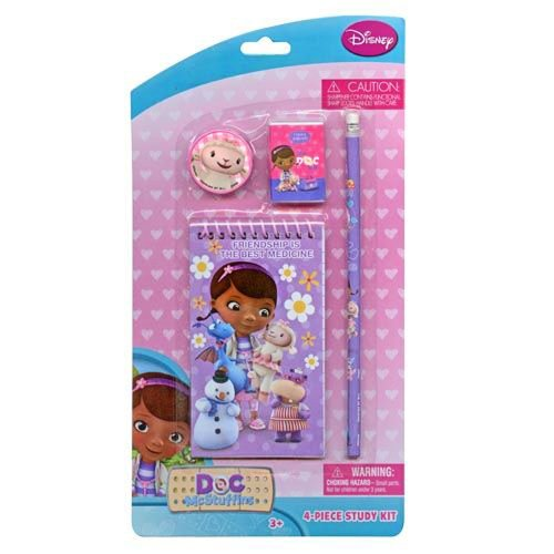 Doc McStuffins 4 Piece Personalized Study Kit/Stationery Set (Memo pad, Eraser, Pencil, Sharpener)