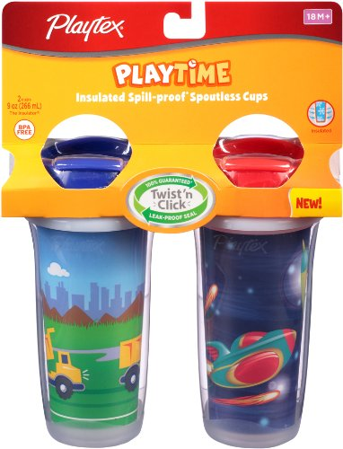 Playtex Playtime Insulated Spoutless Cups, 2 Count (Colors and Designs May Vary)
