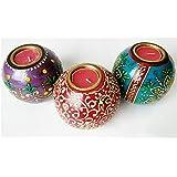 Antikcart Handcrafted Elegant Meenakari Tea Light Candle Holders Set Of 3