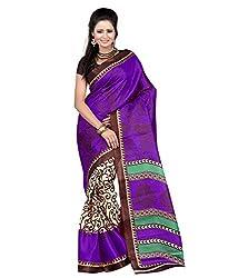 Pruthu Art Silk Sari with Blouse Piece (pas_emily_Blue)