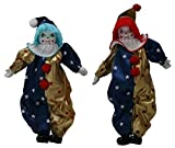 Duo Clown Porcelain Dolls 8 Inches with Flag Day Cloth