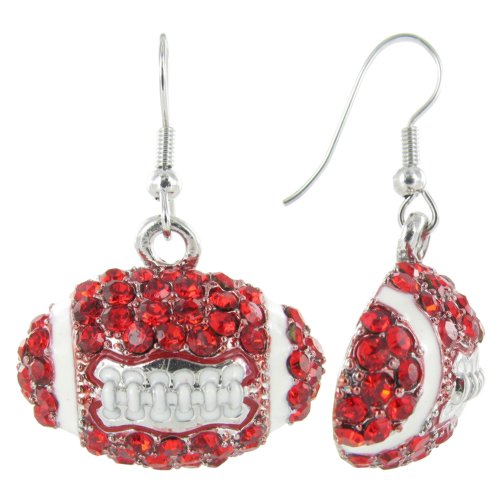 Dome Football Rhinestone Fish Hook Earrings - Red Crystals and White Enamel at Amazon.com