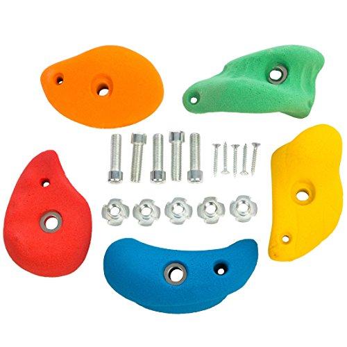 Ultrakidz Lot de 5prises d'escalade en tailleS, M ou L, multicolore ou marbrées, multicolore, M