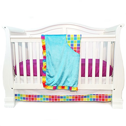 One Grace Place Terrific Tie Dye Infant Crib Bedding Set, Aqua Blue/Royal Blue/Pink - 1