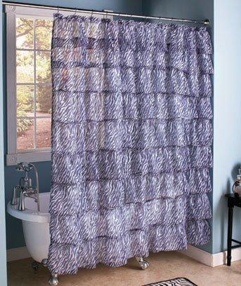 zebra ruffled tier shower curtain