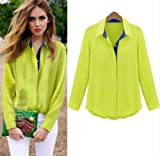 Vogue Women Long Sleeve Swan Red Lip Chiffon Casual Tops Blouse White Shirt S-L (Green, 6_uk)