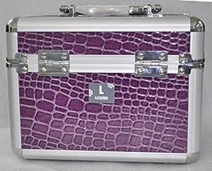 Purple Beauty Vanity Cosmetic Case Make up Jewellery Hair Nail Box Mock Croc Storage