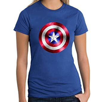 captain america shield fitted blue t shirt medium