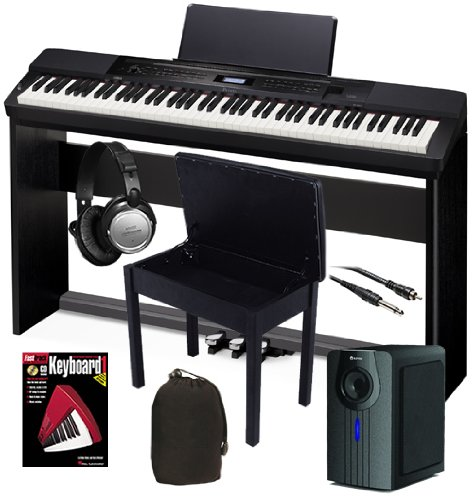 Casio Px-350 Black Digital Piano Home Bundle+ W/ Subwoofer & Wood Stand
