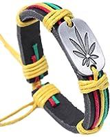 Cameleon-Shop - Bracelet Cuir Noir - Feuille de Cannabis - Cordon Vert Jaune Rouge - Réglable de 15 à 21 cm