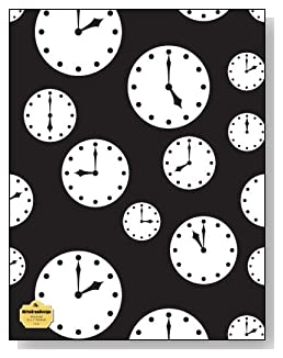 Clocks Notebook - Tick tock! Black and white clocks set at different times make a dramatic cover for this wide ruled notebook.