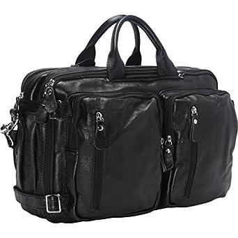 Vicenzo Flex Leather Laptop Messenger Bag / Backpack(Black)