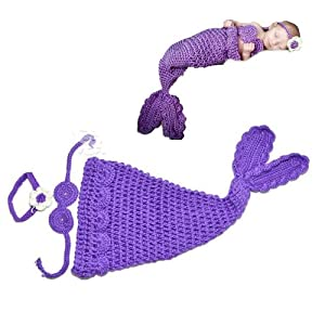 Baby Girl Infant Crochet Mermaid Tail Cocoon Flower Headband Costume Set Photo Prop PURPLE+Free Gift,Lace Doilies,Random Colors
