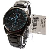 Seiko Mens Gents SNDD67P1 Graphite Ion Plated Chronograph Blue Features Bracelet Wrist Watch