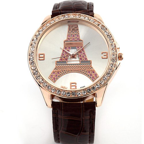 AMPM24 New Fashion Crystal Eiffel Tower Lady Women Girl Brown Leather Quartz Watch