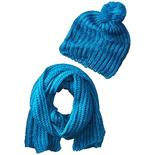 concept-one-big-girls-sequin-knit-slouchy-pom-beanie-with-scarf-set-turquoise-one-size