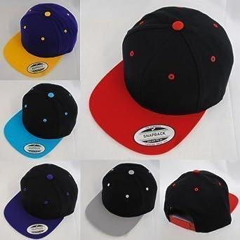 New Yupoong Two-Tone Flat Peak Snapback Baseball Cap - Black/ Grey