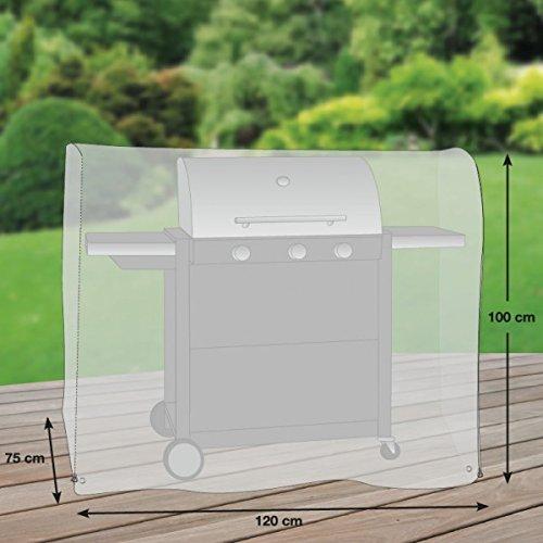 Copertina Premium per Gas Grill / barbecue a gas da cucina / grill carrello poliestere Oxford 600D - grigio chiaro - di 'mehr Garten' - taglia M (120 x 75 cm)