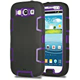 S3 Case, Galaxy S3 Case - ULAK 3in1 Shockproof Hybrid Impact Hard Case Rubber Combo for Galaxy S3 i9300 Shock-Absorption Heavy Duty [Rigid Plastic + Soft Silicone] Case Cover for Samsung Galaxy S3 S III i9300 (Purple PC/ Black Silicone)