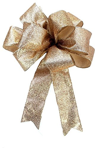 Gold metallic bow for wreaths, Christmas decoration, gift bow