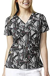 Wink 4 Stretch Print V-Neck Scrub Tops