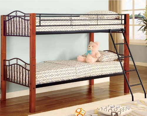Twin Wood And Metal Bunk Bed Convertible front-1040884