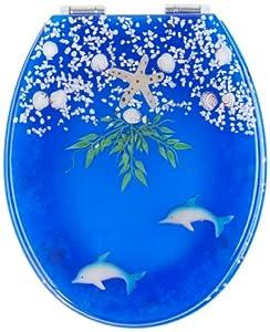 Mebasa MYBWCSL12 Abattant WC transprant décor poissons de myBath avec frein de chute