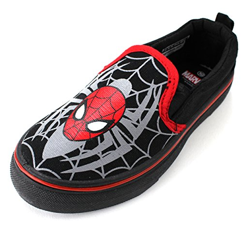 Spider-Man Boys Black Canvas Sneakers Shoes (10 M US Toddler)
