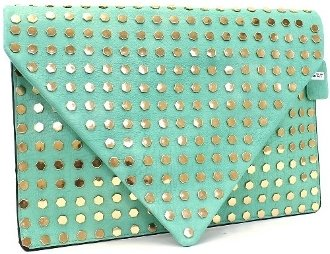 2Chique Boutique Women'S Oversize Studded Mint Green Clutch