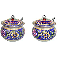 Stainless Steel Decorated Bowl With Lid And Spoon FOR TEA AND SUGAR STORAGE BOWL (Blue, Pack Of 2)