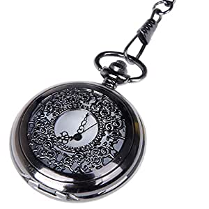 Pocket Watch Black Case White Dial with Chain Half Hunter Neo Vintage Steampunk Design Cosplay PW-22