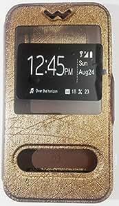 Avzax Silk Skin Dual Window Flip Slim Leather Case Cover for Motorola New Moto E (2nd Gen) (Brown)