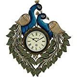 Swagger 18X18 Inches 2 Peacock Large Wall Clock / Vintage Wall Clock / Wooden Wall Clock