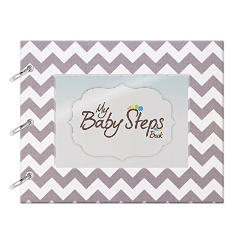 "Baby Steps Book First Year Memory Book ""Chevron Gray"" Hand Made Memory Keeper Record Book & Journal for Boy or Girl"