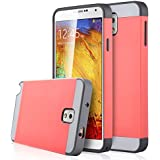Note 3 Case, Galaxy Note 3 Case - ULAK Hybrid Slim Hard Back Case Cover Rubber Bumper 2in1 Daul Layer w/ Card Storage for Samsung Galaxy Note 3 III N9000 (Coral Pink/Gray)