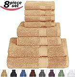 Utopia Towels 8-Piece Value 100% Cotton Bath Towel Set, Includes 2 Bath towels, 2 Hand towels, 4 Washcloths - Beige