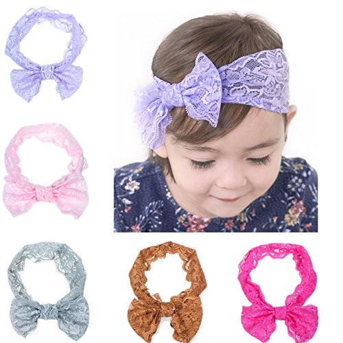 [Kingyee Kids Baby Headbands cute Hairbands Girl's super soft Hair Bows Newborn Headband(5pcs)] (Dancing With The Stars Costumes Designs)